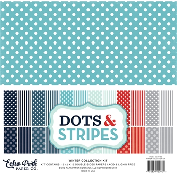 Echo Park WINTER DOTS AND STRIPES 12 x 12 Collection Kit DS170163