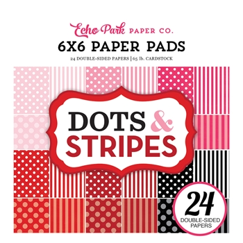 Echo Park VALENTINES DOTS AND STRIPES 6 x 6 Paper Pad DS170182