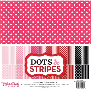 Echo Park VALENTINES DOTS AND STRIPES 12 x 12 Collection Kit DS170183