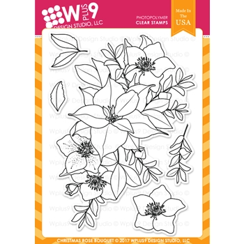 RESERVE Wplus9 CHRISTMAS ROSE BOUQUET Clear Stamps CL-WP9CRB