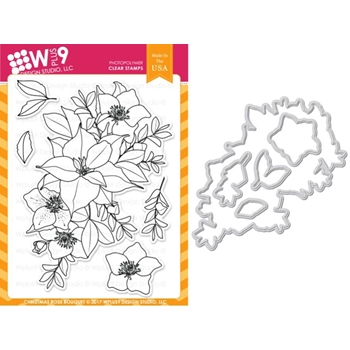 RESERVE Wplus9 CHRISTMAS ROSE BOUQUET Clear Stamp And Die Combo WPLUS419