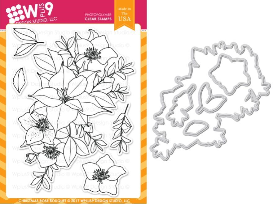 Wplus9 CHRISTMAS ROSE BOUQUET Clear Stamp And Die Combo