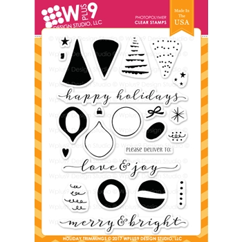 Wplus9 HOLIDAY TRIMMINGS Clear Stamps CL-WP9HT
