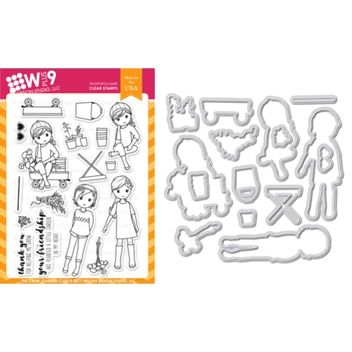Wplus9 THE CREW GARDEN CLUB Clear Stamp And Die Combo WPLUS431* Preview Image