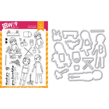 Wplus9 THE CREW GARDEN CLUB Clear Stamp And Die Combo WPLUS431