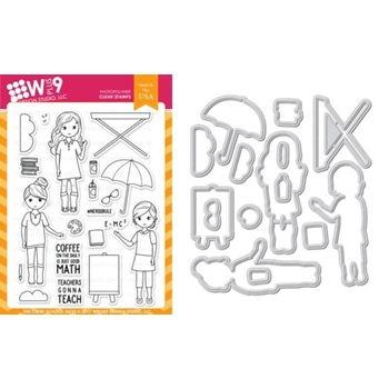 RESERVE Wplus9 THE CREW SCHOOL DAYS Clear Stamp And Die Combo WPLUS434