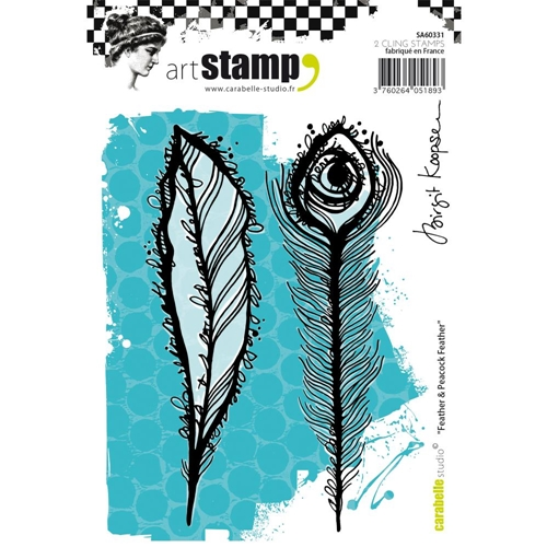 Carabelle Studio FEATHER AND PEACOCK FEATHER Cling Stamp SA60331 Preview Image