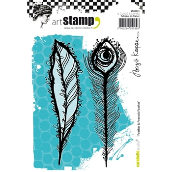 Carabelle Studio FEATHER AND PEACOCK FEATHER Cling Stamp SA60331