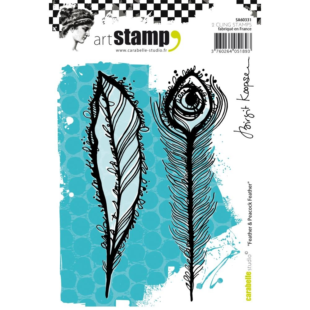 Carabelle Studio FEATHER AND PEACOCK FEATHER Cling Stamp SA60331 zoom image
