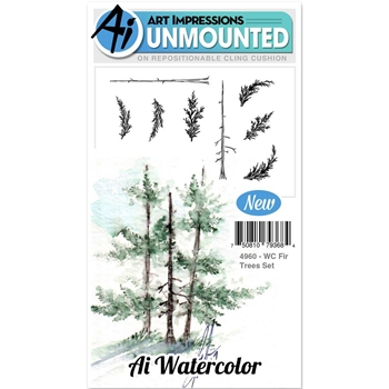 Art Impressions FIR TREES SET Cling Watercolor Rubber Stamps 4960