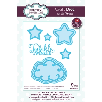 Creative Expressions TWINKLE TWINKLE CLOUD AND STARS Sue Wilson Fillables Collection Die Set CED21015