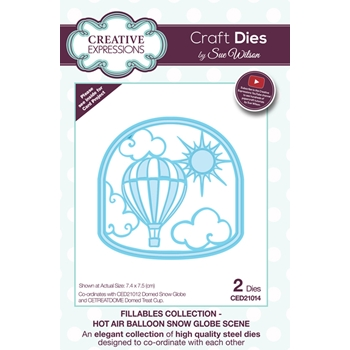 Creative Expressions HOT AIR BALLOON SNOW GLOBE SCENE Sue Wilson Fillables Collection Die Set CED21014