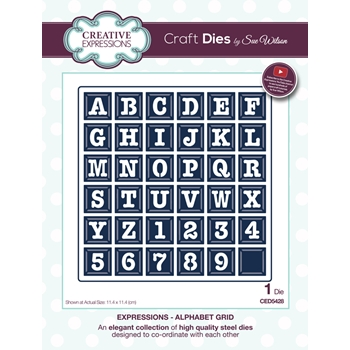 Creative Expressions ALPHABET GRID Sue Wilson Expressions Collection Die Set CED5428