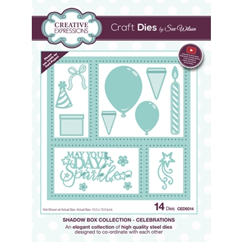 Creative Expressions CELEBRATION Sue Wilson Shadow Box Collection Die Set CED9314
