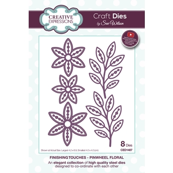 Creative Expressions PINWHEEL FLORAL Sue Wilson Finishing Touches Die Set CED1487