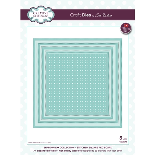 Creative Expressions STITCHED SQUARE PEG BOARD Sue Wilson Shadow Box Collection Die Set CED9315 Preview Image