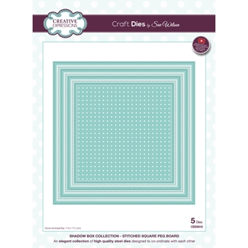 Creative Expressions STITCHED SQUARE PEG BOARD Sue Wilson Shadow Box Collection Die Set CED9315