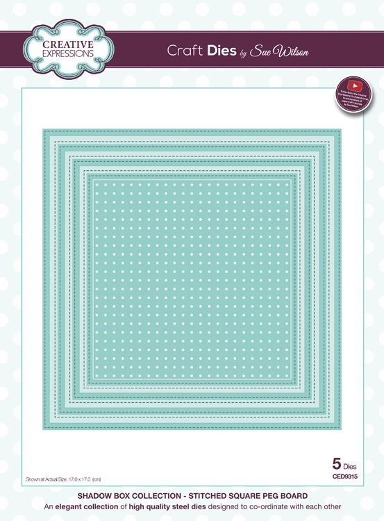 Creative Expressions STITCHED SQUARE PEG BOARD Sue Wilson Shadow Box Collection Die Set CED9315 zoom image