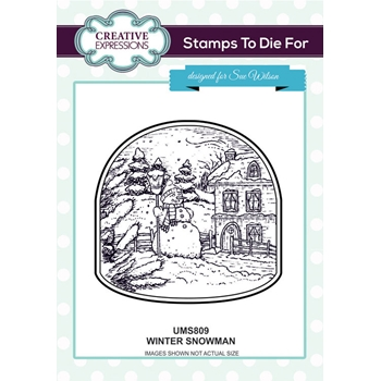 Creative Expressions WINTER SNOWMAN Sue Wilson Cling Stamps To Die For Collection UMS809