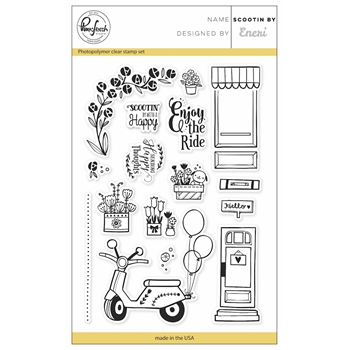Pinkfresh Studio SCOOTIN BY Clear Stamp Set PFCS3117