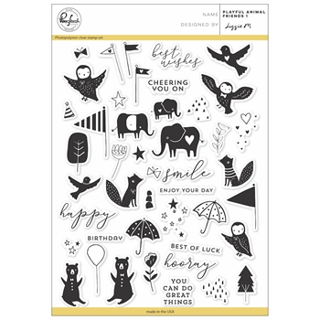Pinkfresh Studio PLAYFUL ANIMAL FRIENDS 1 Clear Stamp Set PFCS3317