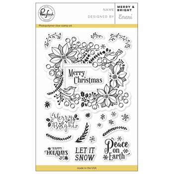 Pinkfresh Studio MERRY AND BRIGHT Clear Stamp Set PFCS3517