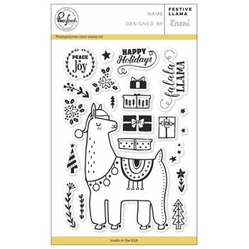 Pinkfresh Studio FESTIVE LLAMA Clear Stamp Set PFCS3617