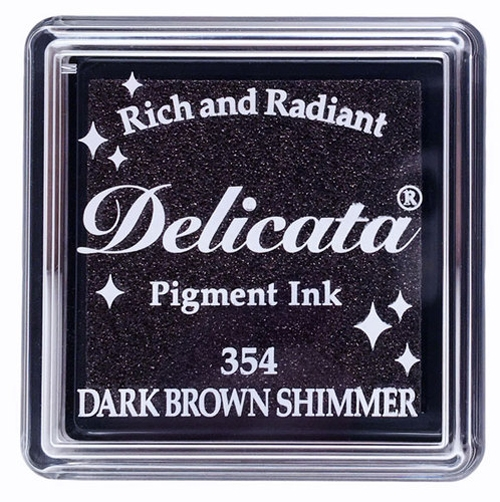 Tsukineko Delicata SMALL DARK BROWN SHIMMER Ink Pad DESML354 zoom image