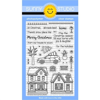 Sunny Studio CHRISTMAS HOME Clear Stamp Set SSCL-177