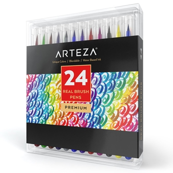 Arteza WATERCOLOR REAL BRUSH PENS Set of 24 ARTZ8003