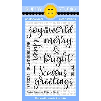 Sunny Studio FESTIVE GREETINGS Clear Stamp Set SSCL-176