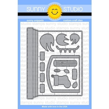Sunny Studio FIREPLACE CARD Snippets Die SunnySS-071