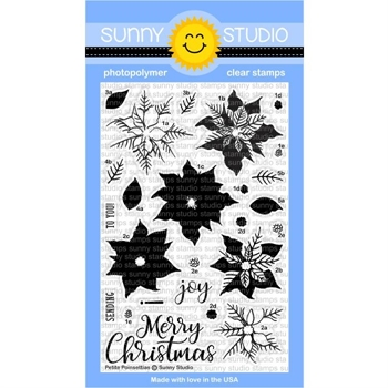 Sunny Studio PETITE POINSETTIAS Clear Stamp Set SSCL-175