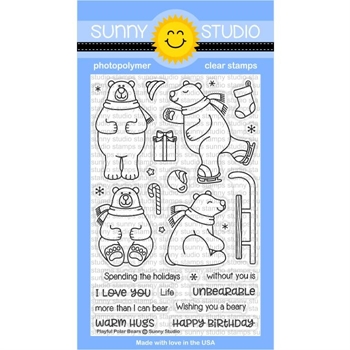 Sunny Studio PLAYFUL POLAR BEARS Clear Stamp Set SSCL-172