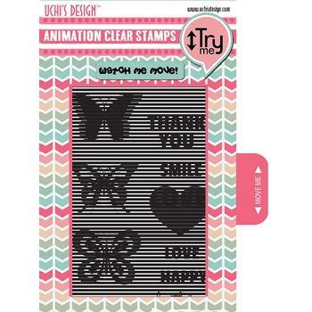 Uchi's Design VERTICAL BUTTERFLIES Animation Clear Stamps AS7