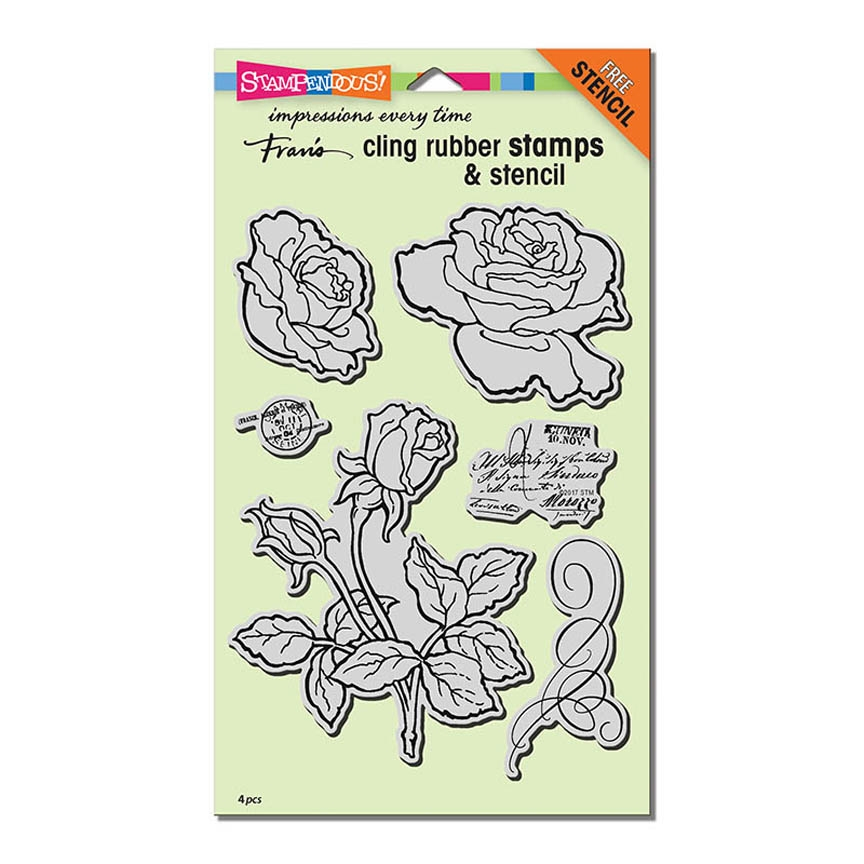 Stampendous Cling Stamp ROSE GARDEN with Stencil Rubber UM CRS5101 zoom image
