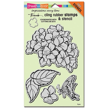 Stampendous Cling Stamp HYDRANGEA GARDEN with Stencil Rubber UM CRS5067