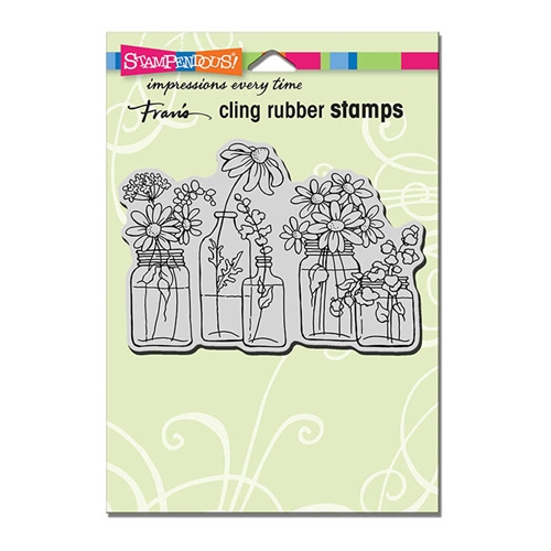 Stampendous Cling Stamp FLOWER JARS Rubber UM CRP313 Preview Image