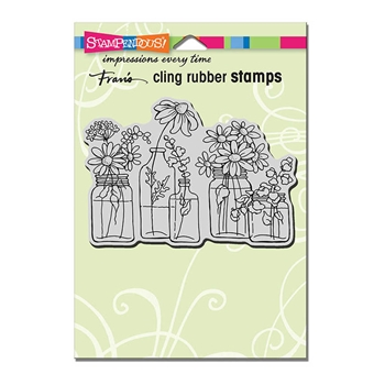 Stampendous Cling Stamp FLOWER JARS Rubber UM CRP313