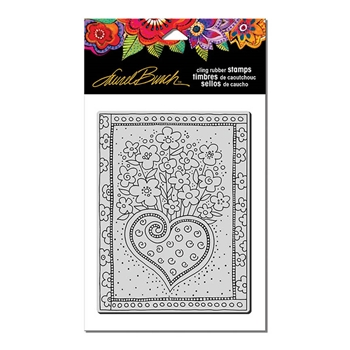 Stampendous Cling Stamp HEART BOUQUET Rubber UM Laurel Burch LBCR011