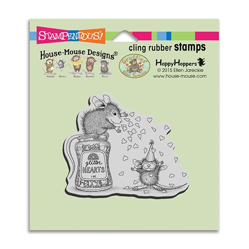 Stampendous, House Mouse Glitter Hearts Cling Stamp
