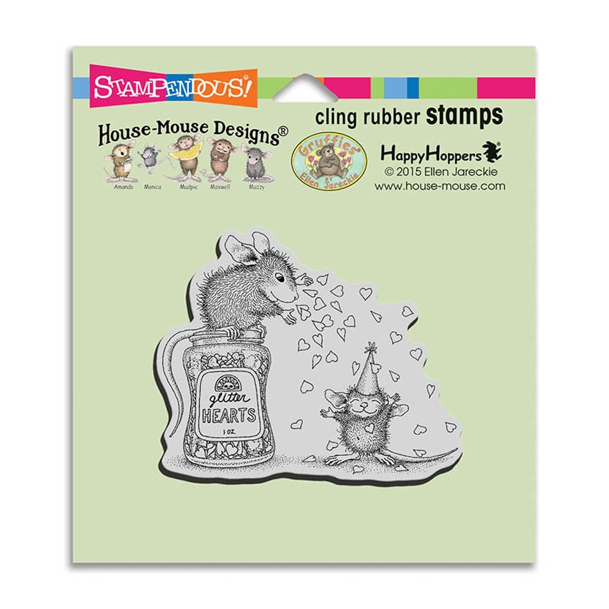 Stampendous, House Mouse 'Glitter Hearts' Cling Stamp