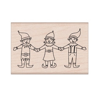 Hero Arts Rubber Stamp THREE HAPPY ELVES H6258