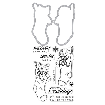 Hero Arts Stamp And Cuts FLUFFY STOCKINGS DC220