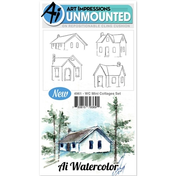 Art Impressions MINI COTTAGES SET Cling Watercolor Rubber Stamps 4961