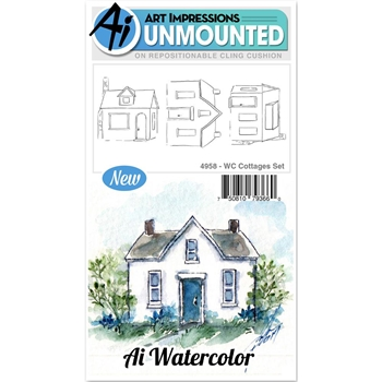 Art Impressions COTTAGES Cling Watercolor Rubber Stamps 4958