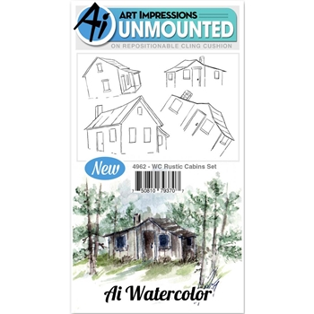 Art Impressions RUSTIC CABINS SET Cling Watercolor Rubber Stamps 4962