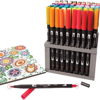 Tombow DUAL BRUSH MARKER 96 PIECE SET With Desk Stand 56149