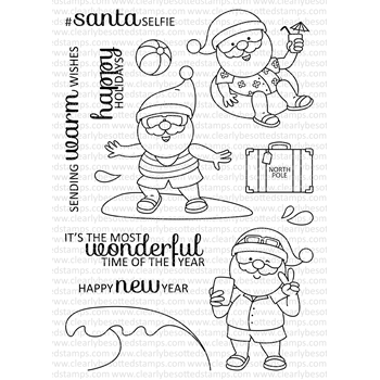Clearly Besotted SANTA IN THE SUN Clear Stamp Set