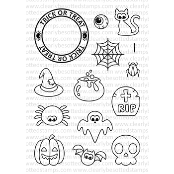 Clearly Besotted TRICK OR TREAT Clear Stamp Set